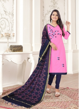 Navy Blue and Pink Cotton Embroidered Churidar Designer Suit