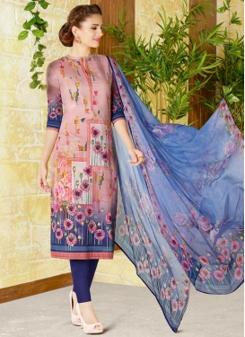 Navy Blue and Pink Print Work Pant Style Pakistani Salwar Suit