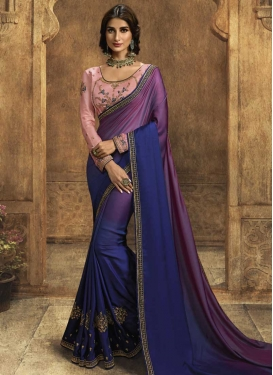 Navy Blue and Purple Satin Silk Designer Traditional Saree