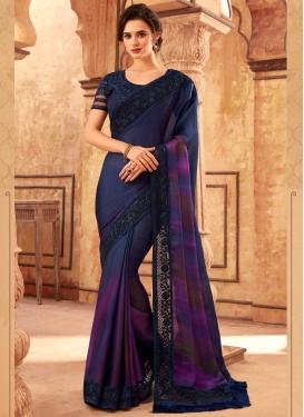 Navy Blue and Purple Trendy Saree