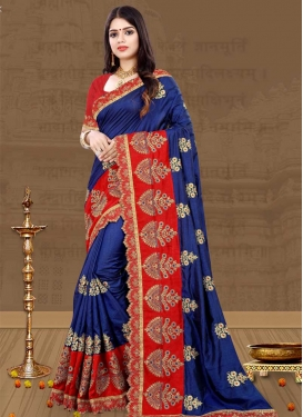 Navy Blue and Red Art Silk Contemporary Style Saree