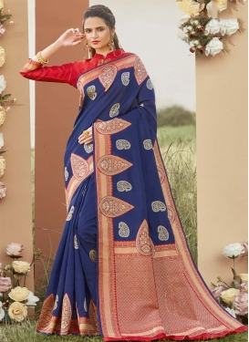 Navy Blue and Red Art Silk Designer Contemporary Style Saree