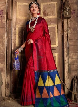 Navy Blue and Red Art Silk Designer Contemporary Style Saree For Casual