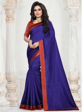 Navy Blue and Red Art Silk Designer Traditional Saree For Casual
