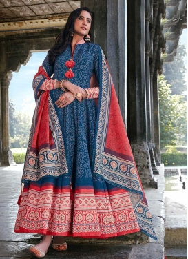 Navy Blue and Red Art Silk Readymade Long Length Gown For Ceremonial