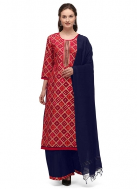 Navy Blue and Red Bandhej Print Work Palazzo Style Pakistani Salwar Kameez