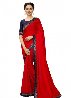 Navy Blue and Red Contemporary Style Saree
