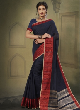 Navy Blue and Red Cotton Silk Designer Contemporary Saree