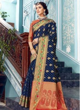 Navy Blue and Red Designer Contemporary Saree