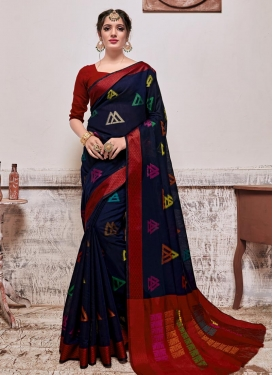 Navy Blue and Red Designer Contemporary Style Saree