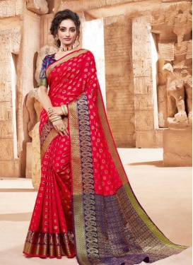 Navy Blue and Red Designer Contemporary Style Saree For Festival
