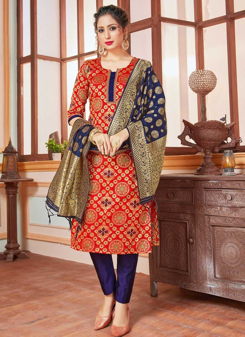 Navy Blue and Red Designer Pant Style Suit For Casual