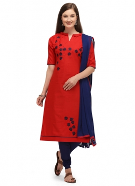 Navy Blue and Red Embroidered Work Churidar Salwar Kameez