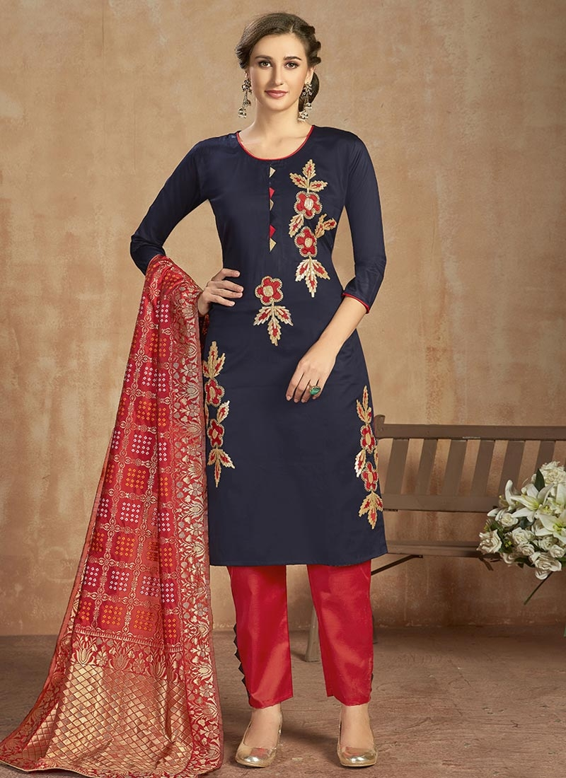 Navy Blue and Red Embroidered Work Cotton Pant Style Salwar Kameez