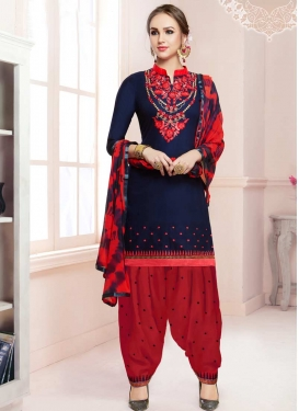 Navy Blue and Red Embroidered Work Designer Semi Patiala Suit