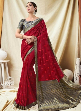 Navy Blue and Red Embroidered Work Traditional Designer Saree