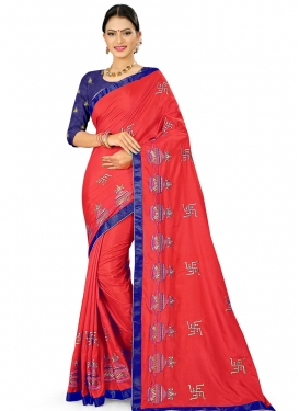 Navy Blue and Red Embroidered Work Trendy Classic Saree