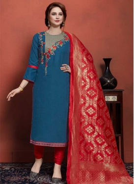 Navy Blue and Red Embroidered Work Trendy Pakistani Salwar Kameez