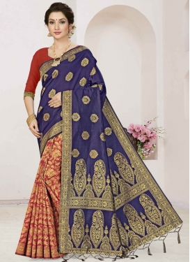 Navy Blue and Red Half N Half Trendy Saree For Casual