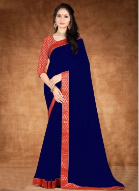 Navy Blue and Red Lace Work Traditional Designer Saree