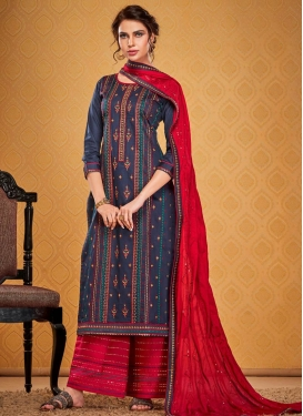 Navy Blue and Red Palazzo Style Pakistani Salwar Kameez For Ceremonial