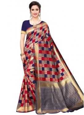 Navy Blue and Red Traditional Saree For Casual
