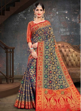 Navy Blue and Red Traditional Saree For Ceremonial