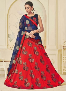 Navy Blue and Red Trendy A Line Lehenga Choli