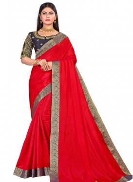 Navy Blue and Red Trendy Classic Saree