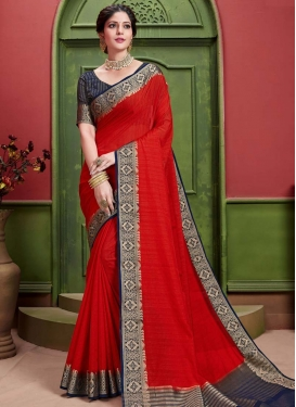 Navy Blue and Red Trendy Classic Saree For Ceremonial