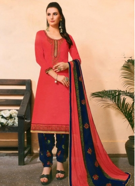 Navy Blue and Red Trendy Patiala Salwar Kameez For Casual