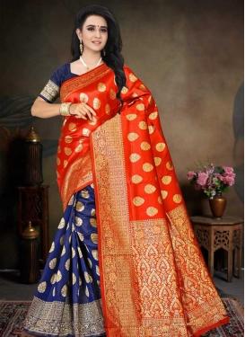 Navy Blue and Red Woven Work Art Silk Half N Half Designer Saree