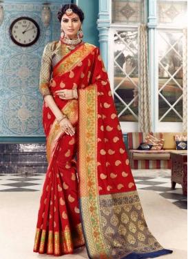 Navy Blue and Red Woven Work Banarasi Silk Traditional Designer Saree