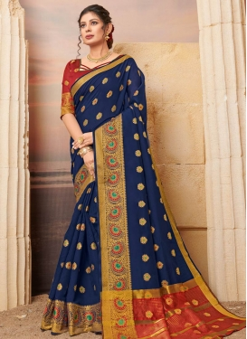 Navy Blue and Red Woven Work Designer Contemporary Saree