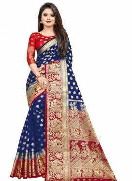 Navy Blue and Red Woven Work Designer Contemporary Style Saree