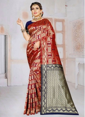 Navy Blue and Red Woven Work Designer Traditional Saree