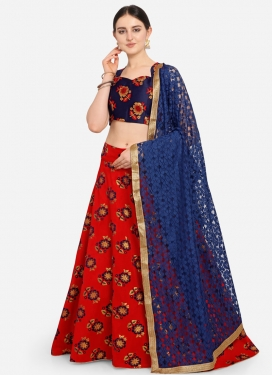 Navy Blue and Red Woven Work Jacquard A - Line Lehenga