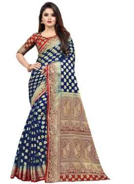Navy Blue and Red Woven Work Trendy Classic Saree