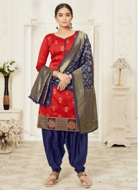 Navy Blue and Red Woven Work Trendy Semi Patiala Suit