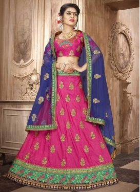 Navy Blue and Rose Pink A Line Lehenga Choli