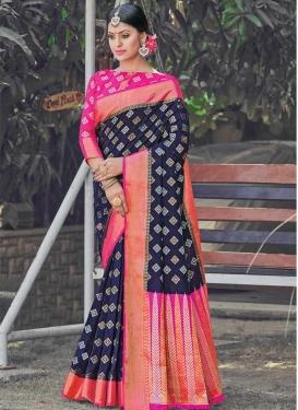 Navy Blue and Rose Pink Art Silk Designer Contemporary Saree