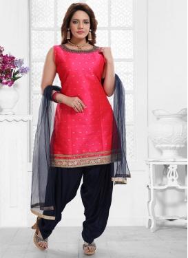 Navy Blue and Rose Pink Art Silk Readymade Salwar Kameez For Ceremonial