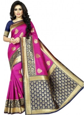 Navy Blue and Rose Pink Art Silk Traditional Saree