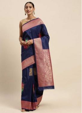 Navy Blue and Rose Pink Banarasi Silk Designer Contemporary Style Saree