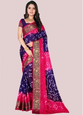 Navy Blue and Rose Pink Bandhej Print Work Designer Traditional Saree