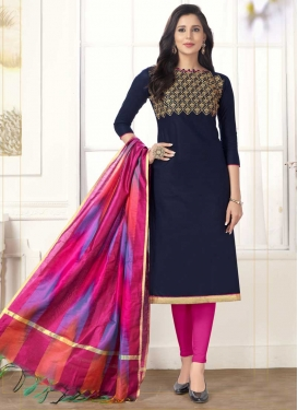 Navy Blue and Rose Pink Cotton Trendy Churidar Salwar Suit