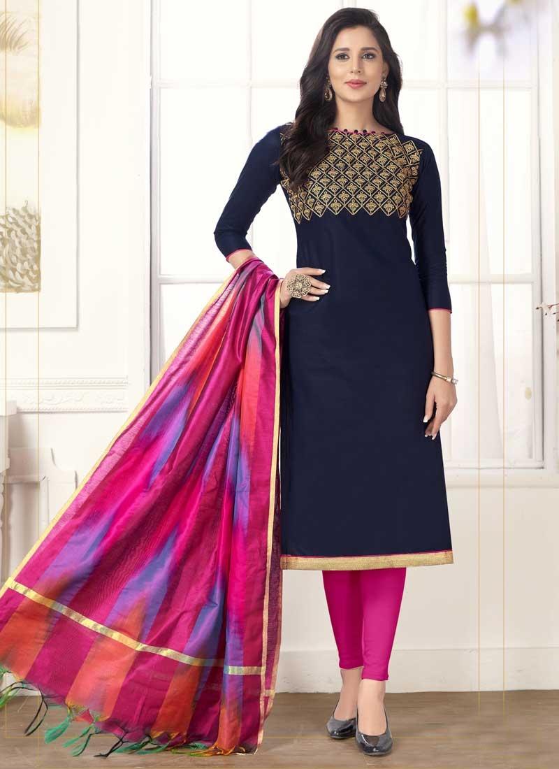 Navy Blue and Rose Pink Cotton Trendy Churidar Salwar Suit