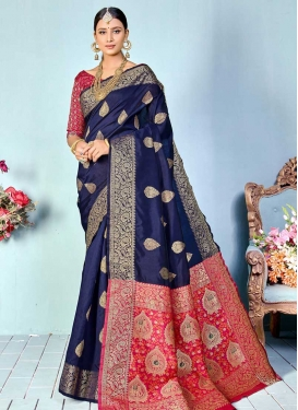 Navy Blue and Rose Pink Designer Contemporary Saree For Ceremonial