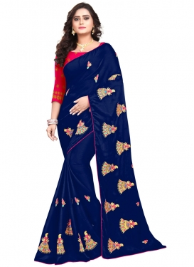 Navy Blue and Rose Pink Designer Contemporary Style Saree