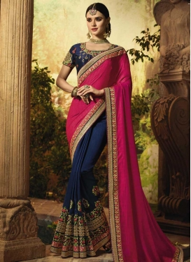 Navy Blue and Rose Pink Designer Half N Half Saree